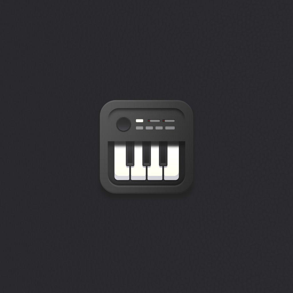 Colección de iconos: Diseño e ilustración de icono musical piano