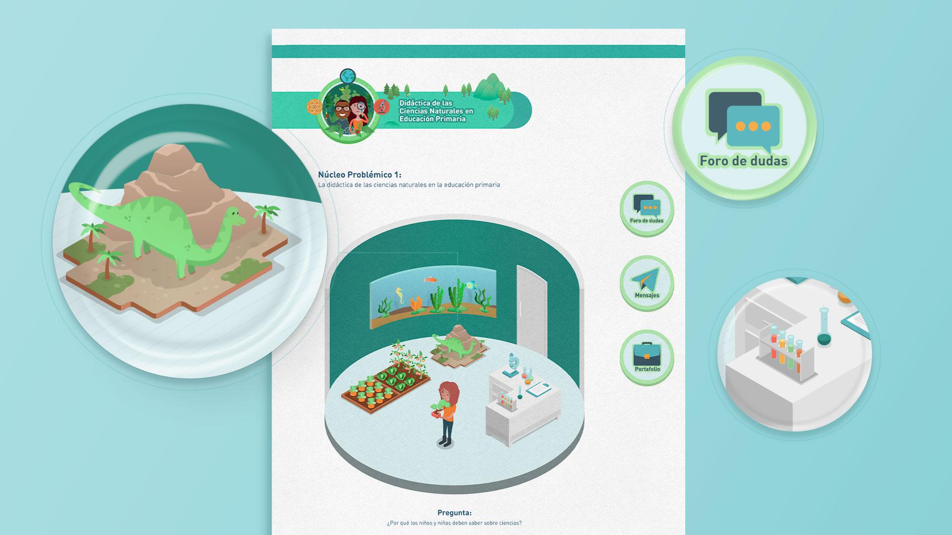 Ilustración de aula virtual en isométrico para LEBP