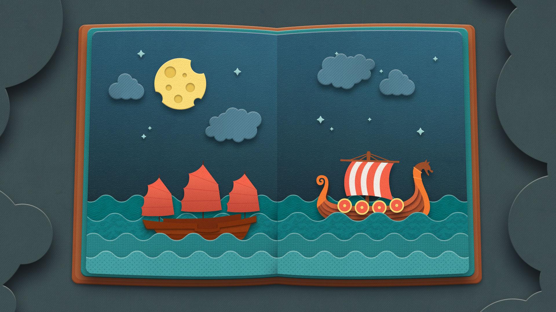 Ilustración de barcos para video LEBP